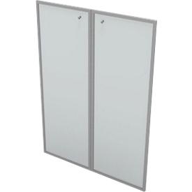Puertas de vidrio para estantería PHENOR, 3 AA, satinado, con marco de aluminio, An 860 x Al 1310mm