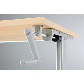 Puesto para trabajo sentado/de pie, mesa de manivela Multitable, ajustable en altura, An 800mm, ac. arce/alu. bl.
