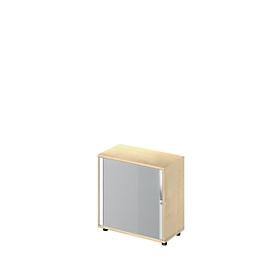 Querrollladenschrank LOGIN, 2 Ordnerhöhen, abschließbar, B 800 x T 420 x H 744 mm, Ahorn-Dekor