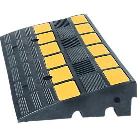 Rampa salvabordillos, hasta 40t, antideslizante, franjas reflectoras, uso como puente pasacables, L 600 x An 360 x Al 150mm, goma dura, negro-amarillo