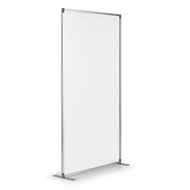 Raumteiler magnetoplan, Acryl doppelseitig/Metall, ohne Magnethaft-Leiste, T-Fuß, B 1000 x T 350 x H 1800 mm, semi-transparent