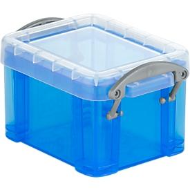 Really Useful Box opbergdoos, kunststof, met deksel, transparant blauw, 3 l