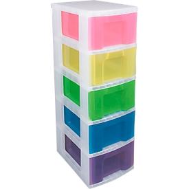 Really Useful Box toren, 5x12 rainbow, met wielen