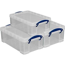 Really Useful Boxen, inhoud 9 liter, als opberg- en transportbox, set van 3