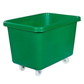 Rechteckbehälter, Kunststoff, fahrbar, 227 l, grün