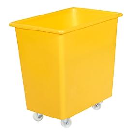 Rechthoekige container, kunststof, verrijdbaar, 135 l, geel