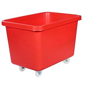 Rechthoekige container, kunststof, verrijdbaar, 227 l, rood