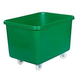 Rechthoekige container, kunststof, verrijdbaar, 340 l, groen