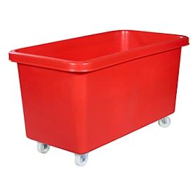 Rechthoekige container, kunststof, verrijdbaar, 450 l, rood
