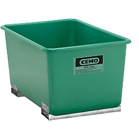 Rechthoekige container Standaard, GFK, met vorkheftrucksloffen, groen, 400 l