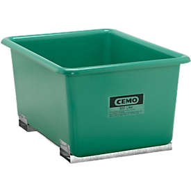 Rechthoekige container Standaard, GFK, met vorkheftrucksloffen, groen, 550 l