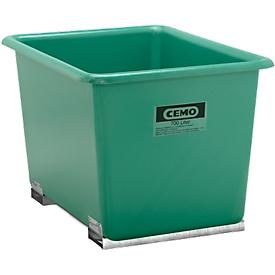 Rechthoekige container Standaard, GFK, met vorkheftrucksloffen, groen, 700 l