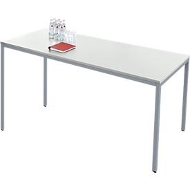 Rechthoekige tafel van stalen buizen, vierkante buispoot, B 1600 x D 700 x H 720 mm, alu lichtgrijs/wit