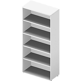 Regal ARLON OFFICE, 5 Ordnerhöhen, 4 variable Fachböden, B 900 x T 450 x H 2000 mm, weiß/weiß