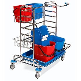 Reinigungswagen Abfallsammler Universal Chrom, inkl. Eimern