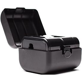 Reisestecker Simon, Adapter für EU, UK, US und AU, 250 V – 3 A / 125 V – 6 A, schwarz + Werbedruck
