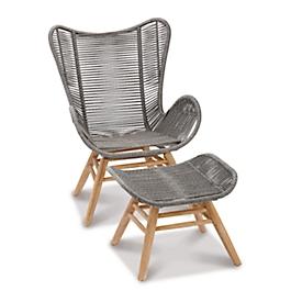 Relax lounge fauteuil Asmara, met voethocker, B 730 x D 1300 x H 1010 mm, grandis/grijs