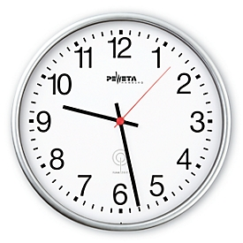 Reloj de pared radiocontrolado, ø 300mm, plata mate
