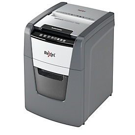 Rexel Aktenvernichter Optimum AutoFeed+ 100X, Vollautomatik, Partikelschnitt 4 x 28 mm, P-4, 34 l, 8-100 Blatt Schnittleistung, schwarz