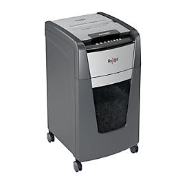 Rexel Aktenvernichter Optimum AutoFeed+ 225X, vollautomatisch, Partikelschnitt 4 x 25 mm P-4, 60 l, Schneidkapazität 10-225 Blatt, mit Lenkrollen, schwarz