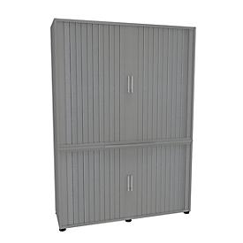 Roldeurkast, 2-delig, 5 OH, B 1350 x D 450 x H 1930 mm, zilverkleurig