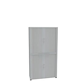 Roldeurkast, 2-delig, 6 OH, B 1200 x D 450 x H 2300 mm, lichtgrijs