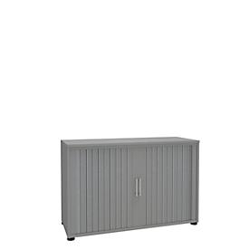 Roldeurkast, 2 ordnerhoogten, 1-delig, zonder middenwand, B 1200 mm, zilver