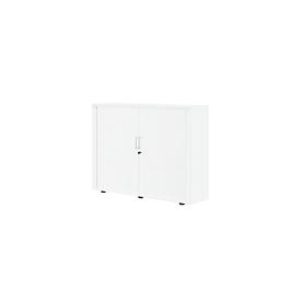 Roldeurkast, 3 ordnerhoogten, 1-delig, zonder middenwand, B 1350 mm, wit