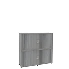 Roldeurkast, 4 ordnerhoogten, 2-delig, met middenwand, B 1600 mm, zilver