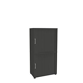Roldeurkast, 4 ordnerhoogten, 2-delig, zonder middenwand, B 800 mm, grafiet