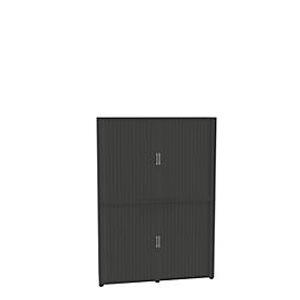 Roldeurkast, 6 ordnerhoogten, 2-delig, met middenwand, B 1600 mm, grafiet