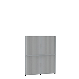 Roldeurkast, 6 ordnerhoogten, 2-delig, met middenwand, B 1800 mm, lichtgrijs
