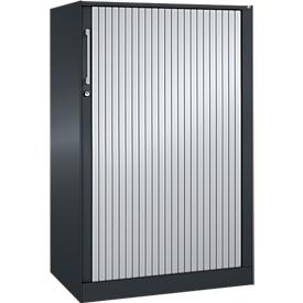 Roldeurkast ASISTO C 3000, 3 ordnerhoogten, B 800 mm, antraciet/aluminium zilver