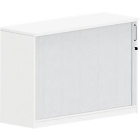 Roldeurkast BEXXSTAR, 2 ordnerhoogten, zicht-achterwand, H 825 mm, wit