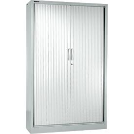 Roldeurkast MS iCONOMY, staal, 5 ordnerhoogten, B 1200 x D 400 x H 1935 mm, wit aluminium RAL 9006
