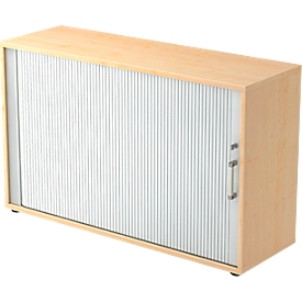 Roldeurkast TARVIS, 2 ordnerhoogten, B 1200 x D 400 x H 825 mm, afsluitbaar & stapelbaar, esdoornpatroon/aluminium zilver