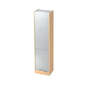Roldeurkast TARVIS, 5 ordnerhoogten, afsluitbaar, B 500 x D 400 x H 2004 mm, esdoornpatroon/aluminium zilver