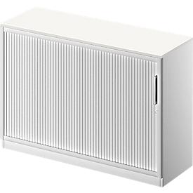 Roldeurkast TETRIS SOLID, 2 ordnerhoogten, B 1200 x D 413 x H 818 mm, met legbord en afdekplaat, wit/blank aluminium