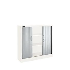 Roldeurkasten, 3 ordnerhoogten, B 1200 mm, wit/aluminum zilver