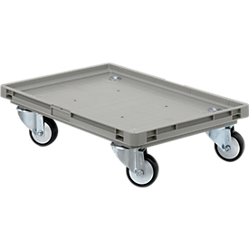 Roll-Fix, kunststof wielen, grijs, 600 x 400 x 125 mm