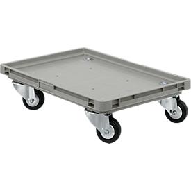 Roll-Fix, ruedas de goma maciza, gris, 600 x 400 x 125mm