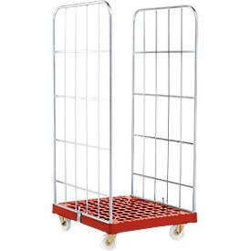 Rollbox, 2-seitig,Kunststoffbodenplatte, 724 x 815 x 1660 mm, rot (RAL 3000)