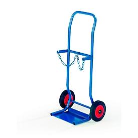Rollcart Steekwagen van staal voor 2 flessen Ø 140 mm of 2 flessen à 10 liter, vol rubberen banden