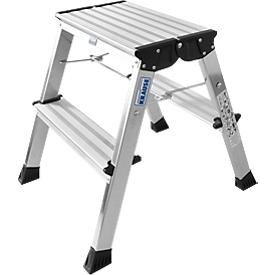 Rolly dubbele inklapbare trap, 2 x 2 treden, aluminium kleur
