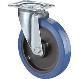 Rueda giratoria, azul elástica, sobre rodamientos, altura total 105 mm