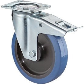 Rueda giratoria con freno, azul elástica, sobre rodamientos, altura total 105 mm