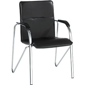 Samba bezoekersstoel, stapelbaar, 4-potig onderstel, kunstleder, incl. rugleuningen, zwart
