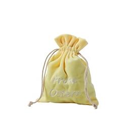 Samtbeutel, ohne Füllung Frohe Ostern - ca. B 14x H18 cm, Gelb