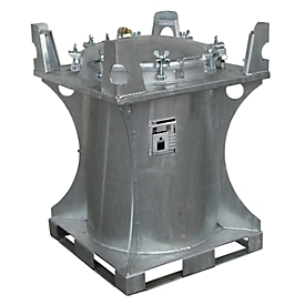 Schadstoff-Container BAUER SCD 240, Stahlblech, Einfüllöffnung Ø 610 mm, feuerverzinkt, B 800 x T 800 x H 1095 mm