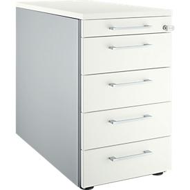 Schäfer Shop Genius Archivador fijo 13333, con tirador cuadrado, An 435 x Al 717mm, aluminio blanco/aluminio blanco/blanco
